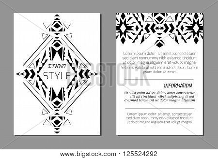 Set of vector geometric black and white brochure templates for business and invitation. A4 layout format. Ethnic tribal aztec style. Modern ethno ikat pattern