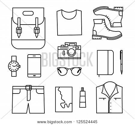 Tourist stuff. Vector line icons set isolated on white background. Traveler preparing
