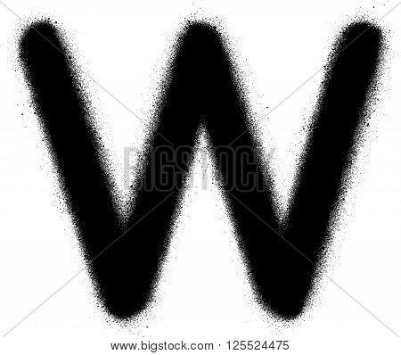sprayed W font graffiti in black over white