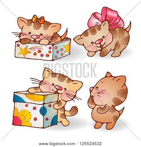 Illustration of funny cartoon kittens with gifts. Hand-drawn illustration. Vector set.