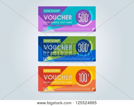 Gift Voucher Template Set. Discount Voucher Set. Gift Certificate