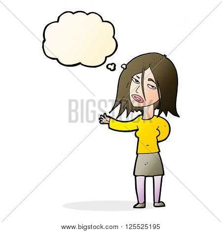 cartoon unhappy woman with thought bubble