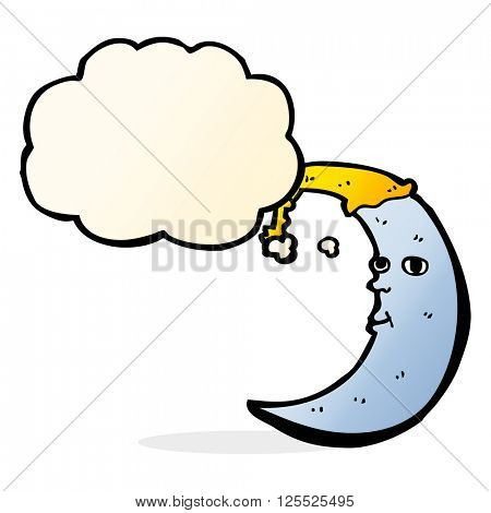 sleepy moon cartoon with thought bubble