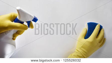 Hands Of Cleaning Staff With Scourer And Sprayer Working