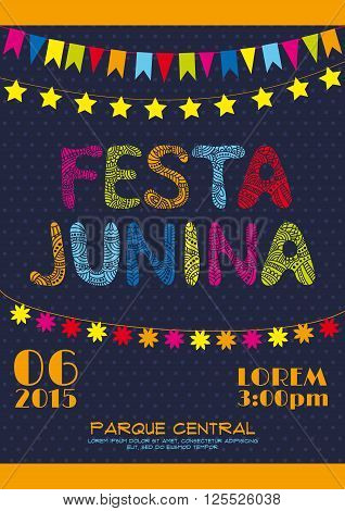 Brazil june party invitation vector poster. Festa junina poster