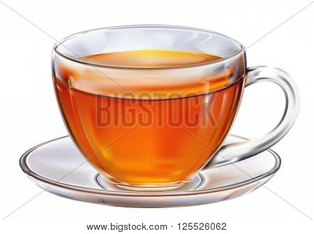 Glass cup with tea on white background. Vector illustration