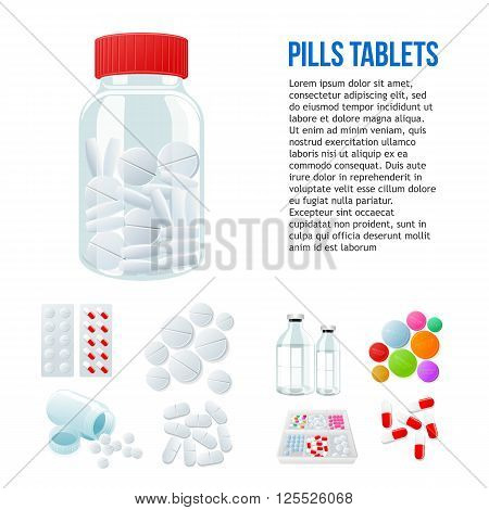 Jar with pills, different pills and white and color on a white background, vector illustration with a set of drugs, colorful products. Bottles and boxes with colored vitamins. Things to human health