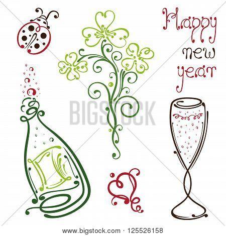 Silvester design Elements, clover, ladybug and sparkling wine.