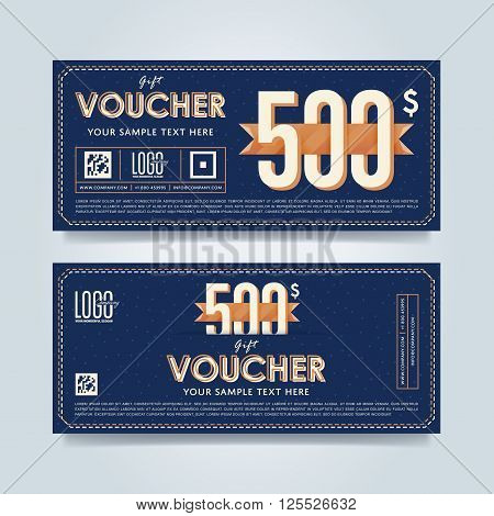 Gift voucher template. Discount voucher. Gift certificate. Two side of gift voucher. Gift coupon template. Vector voucher template. Voucher design. Discount coupon. Special offer voucher. Layout voucher. Voucher background. Sale voucher coupon. Voucher.