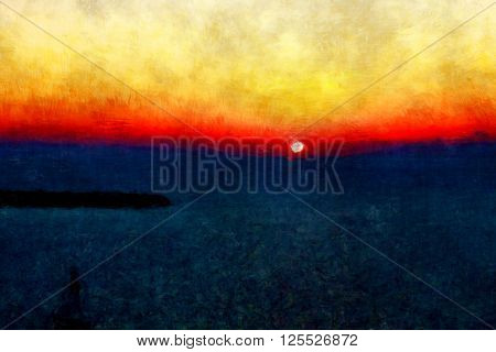 oil painting, gallery art, master drawing, horizon background, sun goes down, sunset image, colorful sky and clouds, sea art draw, painting with mixed style, hard brush paint, modern style drawing
