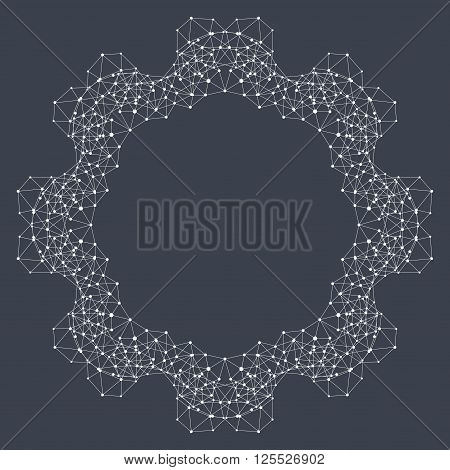 Geometric abstract form with connected line and dots. Graphic background for your design and your text . Vector illustration.