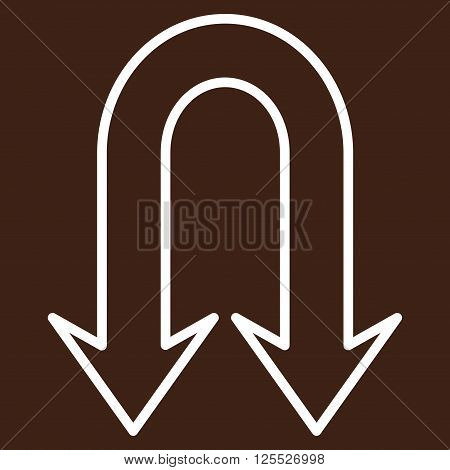 Back Arrows vector icon. Style is outline icon symbol, white color, brown background.