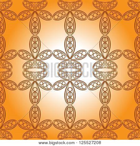 Seamless texture ornamental. Old ornament. Orange gradient ornament.