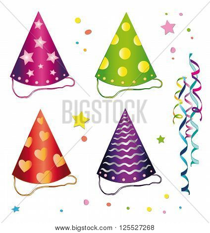 Colorful carnival hats, design Elements, vector set.