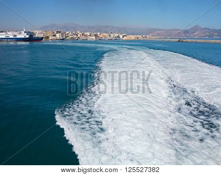 18.06.2015; Heraklion Greece - View to seaport and trace of water from the outgoing ship.