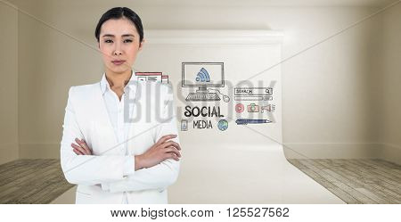 Serious businesswoman with crossed arms against large white screen