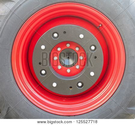 New tractor red tire wheel with bolts detail