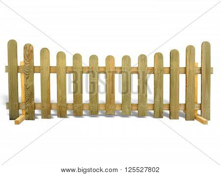 Wooden fence isolated over the white background