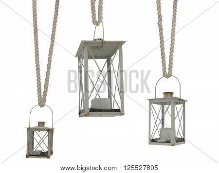 Vintage old rusty white lantern on rope set isolated.