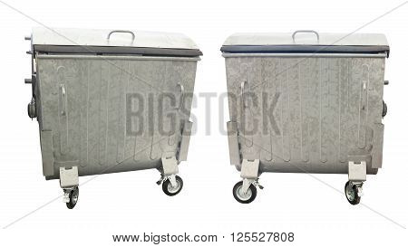 New metallic garbage containers isolated over white background
