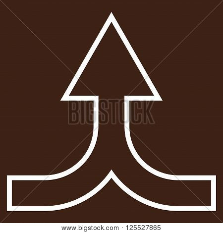 Combine Arrow Up vector icon. Style is thin line icon symbol, white color, brown background.
