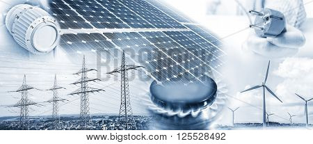 Electricity pylons wind turbines and solar panel with plug gas flame and heating thermostat