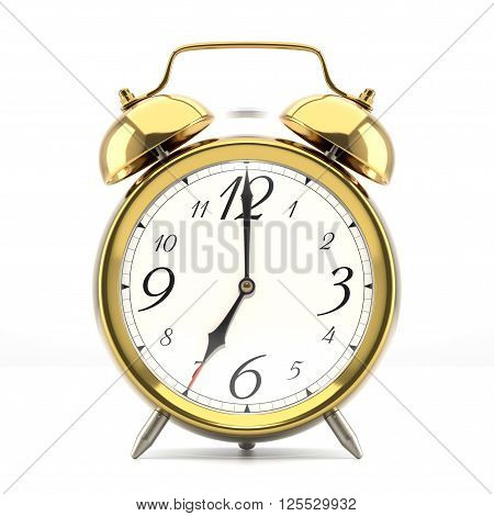 Ringing alarm clock. Golden table shelf vintage clock on white background. Deadline, wake up, time is up, act fast, sale reminder, hot prices concept. 3D illustration