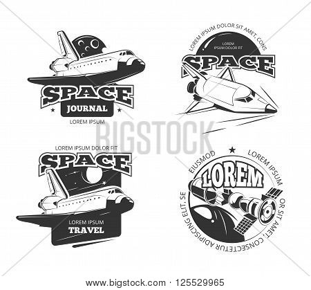Cosmos, space astronaut badges, emblems and logos vector set. Label travel cosmos, science cosmos travel satellite, cosmos ship, space rocketship logo illustration