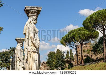 Ancient ruins of Villa Adriana(Canopus statues facing the sky) Tivoli Italy