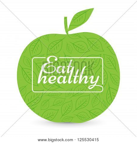 Eat a healthy diet. Green Apple, vector. natural product. motivational poster or banner. background signs leaves - vector illustration