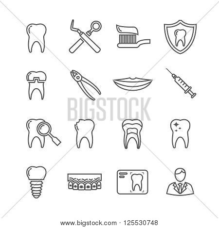 Teeth, dentistry medical line icons. Instrument dentistry medical, dentistry medical stomatology, equipment dentistry medical, dental protection. Vector illustration