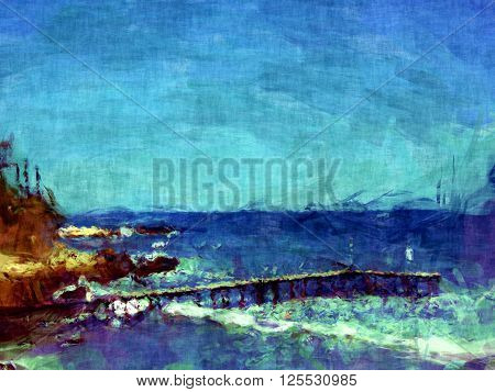 beautiful pier painting, waves crushing on the pier, landscape painting,