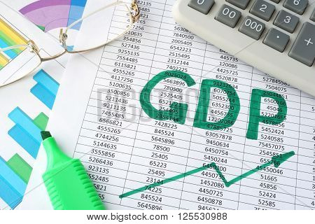 Word  GDP written on a paper and charts.