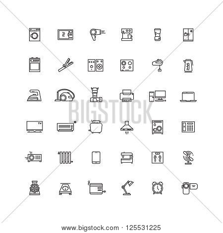 Household appliances line vector icons. Appliance equipment home, kitchen appliance, electronic appliance device illustration