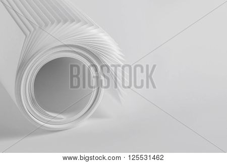 Rolled up sheets of plain white paper