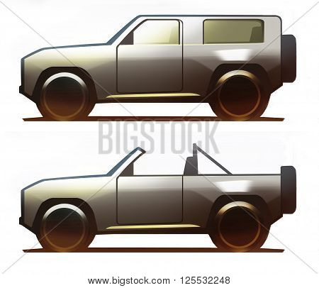 Car body offroad vehicle isolated on white background