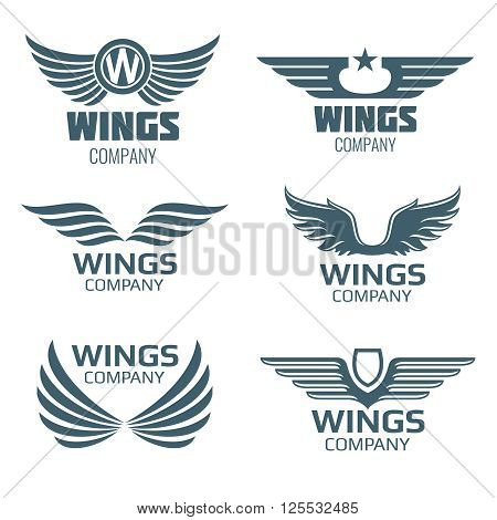 Vector wings logo set. Winged logo company and icon wing flying, eagle wing brand and logotype wing bird illustration