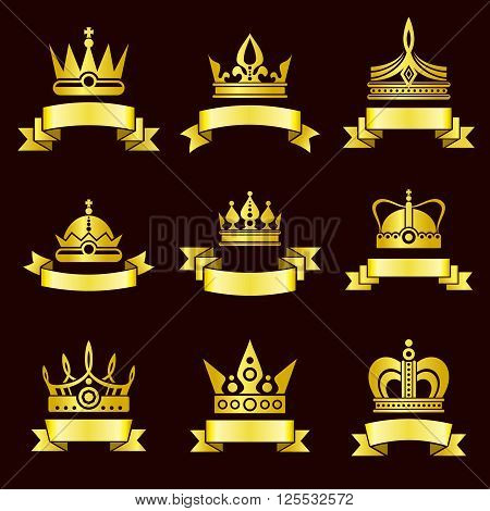 Gold crowns and ribbon banner vector set. Royal crown with ribbon, medieval crown luxury and crown classic golden illustration
