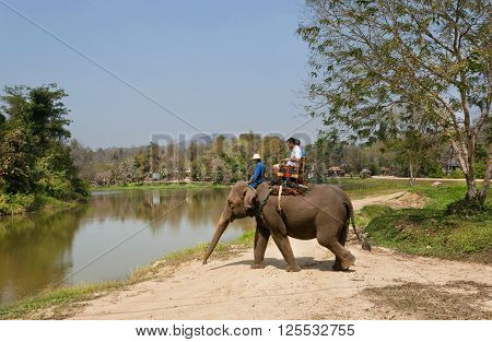 LAMPANG, THAILAND - FEBRUARY 18, 2016: Tourists riding an indian elephant during bathing in lake at Thai Elephant Conservation Center on February 18, 2016. The Center - TECC founded in 1993 under Royal Patronage
