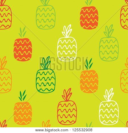 The pineapples are hand-drawn on a green background create a continuous pattern. Can be used for textile printing packaging.