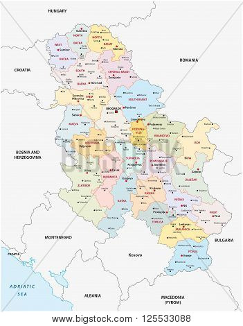 administrative and political map of the Republic of Serbia