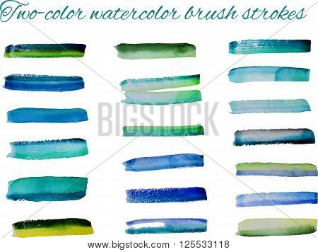 Two-color watercolor brush strokes set. Vector illustration
