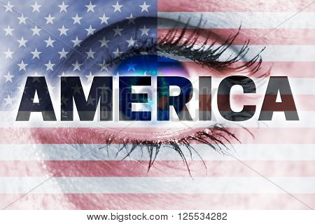 america eye looks at viewer concept background.