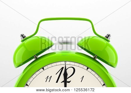 Ringing alarm clock. Green table shelf vintage clock on white background. Deadline, wake up, time is up, act fast, sale reminder, hot prices concept. 3D illustration
