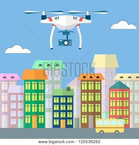 Colorful flat vector illustration of air RC drone with camera. Quadcopter flying in the sky above the city. On isolated background. Excellent illustration for web or paper.