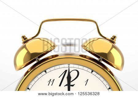 Ringing alarm clock. Golden table shelf vintage clock on white background. Deadline, wake up, time is up, act fast, sale reminder, hot prices concept.3D illustration