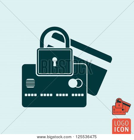 Padlock with credit card icon. Padlock with credit card symbol. Secure payment icon isolated. Vector illustration