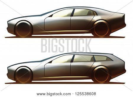 Car body sedan and wagon on white background