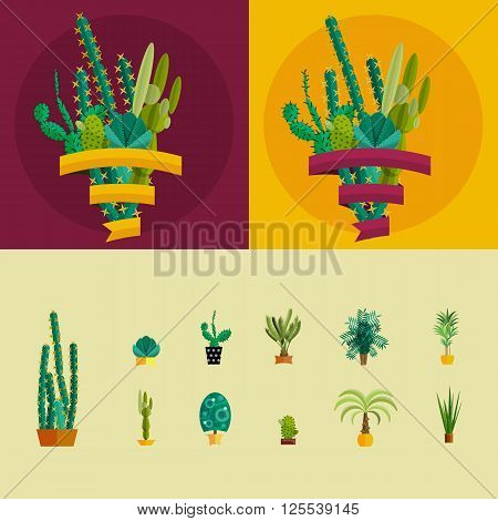 Cactus set.Flat style.Cactus Vector collection of blooming succulents.Modern Green plant icons, desert nature, floral exotic, tropical flower, Home cactus garden, wild botany illustration.Vector simple set