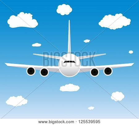 Flight of the plane in the sky. Passenger planes, airplane, aircraft, flight, clouds, sky. vector illustration in Flat design